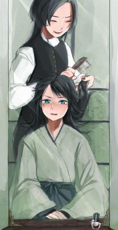 Kashuu Kiyomitsu and Yamato no Kami Yasusada of Touken Ranbu fanart.  One word: cute!