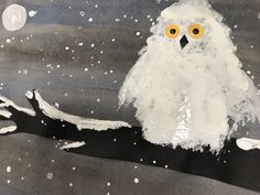 Kindergarten snowy owls, elementary art, winter art, kindergarten winter art, kindergarten art, #kindergarten #kindergartenart #art #winter #winterart #elementaryart #elementaryartlessons #artlesson #artlessonideas