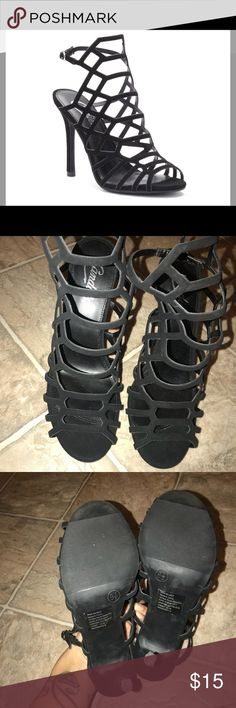 Black strappy heels (candies) Condition 9/10. Worn once, similar to the Steve Madden heels! Candie's Shoes Heels