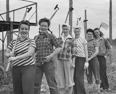 """One of my all time faves! """"Coeds with hoes."""" The county experimental hop yard recruited Oregon State College coeds for a quick job of hoeing."""