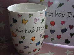 ♥ 500ml HENKEL-Becher ich hab´´ Dich lieb Keramik von ✿ Casa-di-Sue✿  auf DaWanda.com