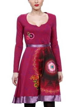 Jacky Desigual dress from the Galactic line. Magenta dress with large circular motifs on the skirt. Long sleeved, and deep cut with a ribbon tie at the waist.