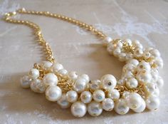 Gold Ivory Pearl Necklace, Pearl Cluster Necklace, Bridesmaid Pearl Necklace, Chunky Pearl Jewelry, Weddings, Necklaces, Bridesmaids Jewelry on Etsy, $28.00