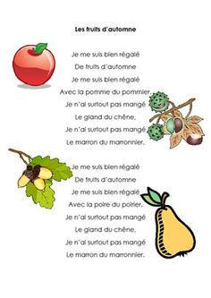 1comptine24les-fruits-d'automne                                                                                                                                                                                 Plus Core French, French Class, French Poems, Petite Section, Grande Section, French Kids, French Expressions, Bullying Prevention, French Resources