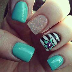 Nails flower shellac design nails gaby garcia