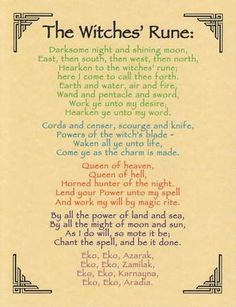 "Witches Rune Poster, a rhyming chant used during the circle dance to raise the cone of power in Traditional Wicca covens. Size: 8 1/2"" x 11"""
