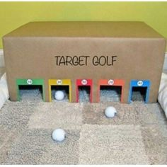 video games needed with this DIY target golf game! Try it yourself at home or at your HQ with an old cardboard box.No video games needed with this DIY target golf game! Try it yourself at home or at your HQ with an old cardboard box. Carnival Games For Kids, Sports Games For Kids, Diy Carnival, Indoor Games For Kids, Indoor Activities, Summer Activities, Games For Preschoolers Indoor, Indoor Birthday Games, Easy Games For Kids