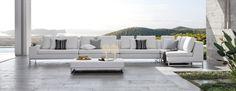 The Manutti Zendo garden sofa from Go Modern Contemporary Garden Furniture, Outdoor Furniture Design, Outdoor Sofa, Outdoor Living, Outdoor Seating, Outdoor Spaces, Teak, Sectional Furniture, Rattan Furniture
