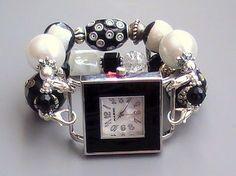 Black and White Beaded Interchangeable, Stretchy Watch Combo | sassylu - Jewelry on ArtFire