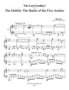 The Last Goodbye - Billy Boyd | Quality Sheet Music