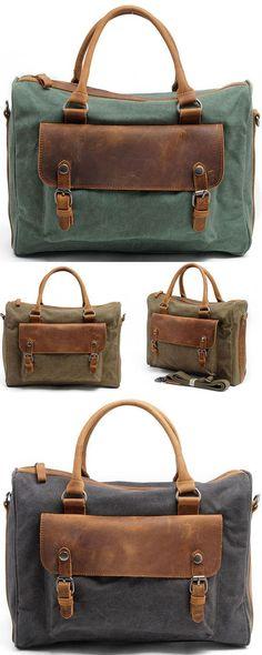 Vintage Square Briefcase Laptop Zipper Handbag Thick Canvas Splicing Leather Shoulder Bag for big sale! #leather #handbag #large #canvas #retro