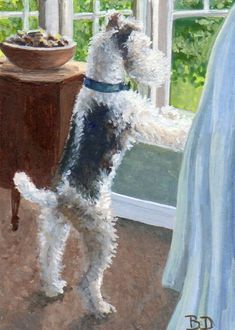 ACEO Original Painting Wire Hair Fox Terrier Dog Gouache US Artist B. Donati Wirehaired Fox Terrier, Fox Terriers, Wire Fox Terrier, Bull Terrier, Italian Greyhound Dog, Art Trading Cards, Terrier Dog Breeds, Miniature Dogs, Pet Fox