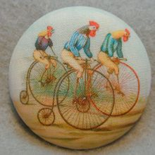 Rooster Riding Bikes Hand Printed Fabric Covered Button 1 and inch Diameter Button Badge, Button Art, Button Crafts, Cool Buttons, Vintage Buttons, Fabric Covered Button, Covered Buttons, Hand Printed Fabric, Printing On Fabric