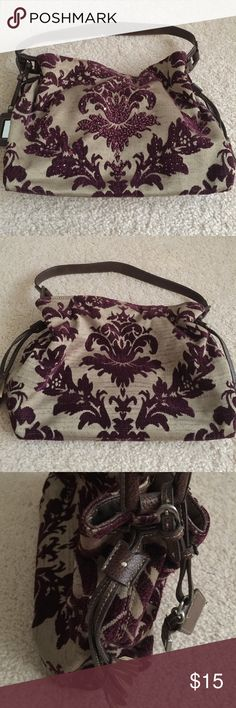 Purple and Brown Liz Claiborne Shoulder Bag Fleur de lis design velvet and sequined shoulder handbag. Barely used and has been stored in a box. Comes from a pet and smoke free hone. Please make me an offer, I need to clean out my closet! Liz Claiborne Bags Shoulder Bags
