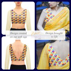 Design to reality- An elegant V neck blouse with embroidered threadwork fabric.  Design you own now on houseofblouse.com #saree #blouse #sareeblouse #blousedesigns #desi #indianfashion #india #lotus #chinesecollar #sexyback