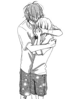 anime, beautiful, black and white, boy, couple, cry, cute, girl, hug, kawaii…