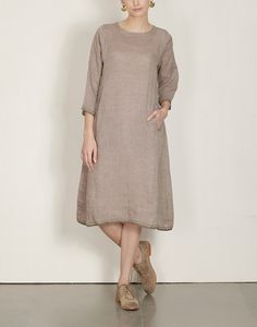 EKA Khaki Mulberry Tunic $178  Eka's beautifully detailed, minimal handwoven linen pieces are lovely on the skin. They are comfortable and airy as dresses in Summer and also great layered over pants. khaki 100% handwoven linen comfortable fit, back placket running stitch & selvage detail