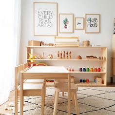 Warm and simple playroom Modern Playroom, Playroom Design, Playroom Ideas, Playroom Montessori, Montessori Materials, Montessori Toddler Rooms, Trofast Ikea, Deco Kids, Childrens Rugs