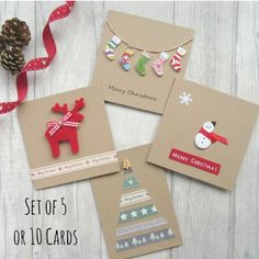 Set of 5 or 10 Christmas Cards Card Multipack Holiday Cards Xmas Cards Festive Cards Card Bundle Christmas Card Pack Cute Christmas Modern Christmas Cards, Christmas Card Packs, Christmas Card Crafts, Homemade Christmas Cards, Christmas Cards To Make, Christmas Settings, Homemade Cards, Holiday Crafts, Button Christmas Cards