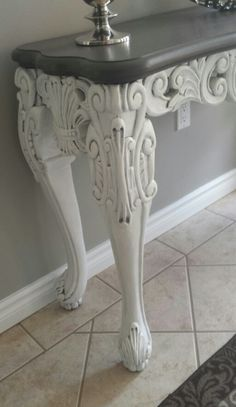 console table painted with a DIY chalk paint.