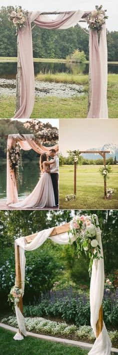 | Simple Outdoor Wedding Decorations, Rustic Wedding Alter, Simple Wedding Arch, Wedding Arch Flowers, Outdoor Wedding Arches, Rustic Outdoor Decor, Rustic Arbor, Rustic Backdrop, Affordable Wedding Flowers #weddingflowers