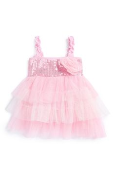 This pink sequin tiered dress is so pretty.