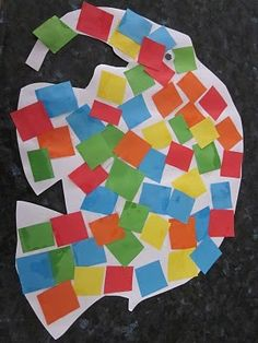 Elmer activity 2 - info for activity 1 - Cute spin on Elmer project - have children glue tissue paper squares on a paper; once dry, draw Elmer on the back and cut him out! Paint a watercolour background to mount him onto.