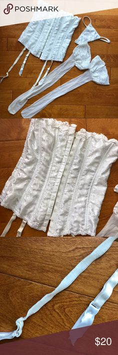 White Bustier, Thigh Highs and Matching Panties White Bustier, Thigh Highs and Matching Panties. Never worn. Sitting at the back of my closet. Intimates & Sleepwear Bras