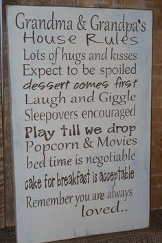Grandma and Grandpa's House Rules.. Wood Sign.. Mothers Day,, Fathers Day.. Christmas Gift on Etsy, $45.00