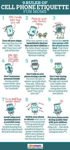 9 Rules of Cell Phone Etiquette For Moms | LOLs & funny lists about motherhood | parenting humor by @RobynHTV on NickMom!