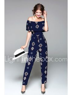 Women's Going out Holiday Jumpsuit - Art Deco, Print High Rise Boat Neck Jumpsuit Outfit, Casual Jumpsuit, Short Jumpsuit, Summer Jumpsuit, Black Jumpsuit, Blue Jumpsuits, Jumpsuits For Women, Overall, Going Out
