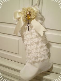 White Ruffles - This is a handmade 17' tall stocking