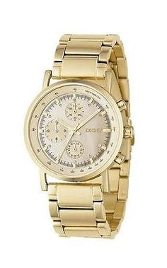 Authentic New DKNY NY4332 Chronograpg MOP Dial Gold Tone Women's Watch