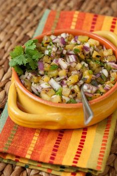 Grilled Pineapple Salsa- grill 5 half inch   thick slices of fresh pineapple on med-high for about 2 min each side, dice 1   small red onion, 2 jalapenos, 1/4 cup cilantro and mix with juice of 1 lime and   1/4 tsp salt.