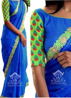 Designer Georgette Blue & Green Lace Work Saree