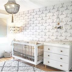 Oh, how we LOVE those sneak peek photos!!  Take a look at this neutral nursery design with our Bunny Butt wallpaper. Cuteness all over this place!