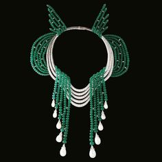 Sacre du Printemps necklace features 705 Colombian emerald balls totaling 677 carats by Van Cleef & Arpels