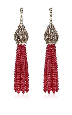 Indo-Russian Tassel Earrings by Sanjay Kasliwal for Preorder on Moda Operandi