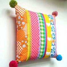 Fabulous Pom Pom Patchwork Pillow / Cushion by madebylisajane, £26.50