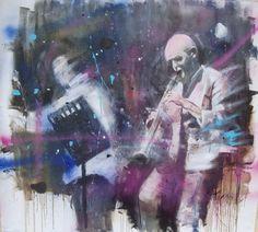Cambio - Olio su tela - cm.90x100 - musicista jazz, complesso jazz, dipinto con musicisti