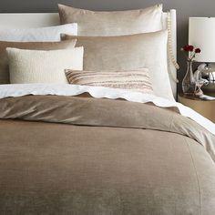 Washed Luster Velvet Duvet Cover + Shams | west elm twin duvet $149 can use with leaf print pillow cases