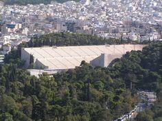 Old marble Olympic Stadium. The neighborhood of Pangrati is beyond it.  (I'll be staying in the Pangrati neighborhood... :)