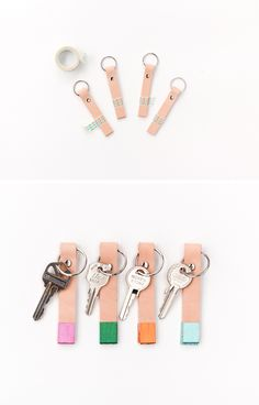 DIY Color Blocked Leather Keychain