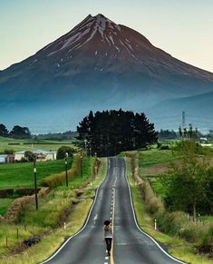 Mount Taranaki, New Zealand. Photo by winter The Road Not Taken, Far Away, Pretty Pictures, Travel Photos, Traveling By Yourself, Beautiful Places, Country Roads, Adventure, Nature