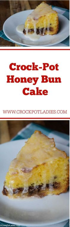 Crock-Pot Honey Bun Cake - Yellow cake mix and few other simple ingredients yields you this amazing Crock-Pot Honey Bun Cake. Perfect for dessert or snacking any day of the week! [Low Sodium & Vegetarian] #CrockPotLadies #CrockPot #SlowCooker #Dessert Recipe For Honey Buns, Honey Bun Cake, Best Crockpot Recipes, Slow Cooker Recipes, Cooking Recipes, Different Kinds Of Cakes, Vegetarian Cake, Yellow Cake Mixes, Crock Pot Slow Cooker
