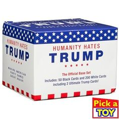 Humanity Hates Trump Card Game - Base Set White Cards, 50 Black Cards) - All Original Cards NOT in any Expansions Humanity really does hate Trump and the Board Game Store, Board Games, Horrible People, American Party, Trump Card, Lego Store, Black Card, Hosting Company, The Expanse
