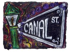 Canal St New Orleans Louisiana Lamp Post Mardi Gras