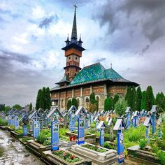 Have you ever heard of a Merry Cemetery? Well, the one in Săpânța, Romania, is just that. The blue colored crosses bear short poems about… Visit Romania, Romania Travel, Ancient Architecture, Kirchen, Vacation Destinations, Places To See, Beautiful Places, Short Poems, Cemetery Art