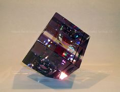 Image > Jack Storms glass art sculptures - purple cube 3