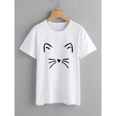 SheIn(sheinside) Cat Print Tee ($9) ❤ liked on Polyvore featuring tops, t-shirts, white, cotton blend t shirts, white tees, round neck t shirt, cartoon tees and comic tees